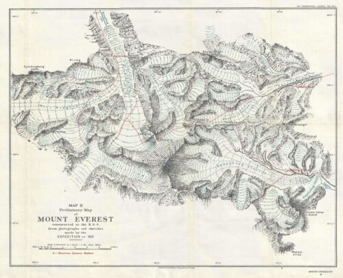 1922 Royal Geographical Society Map of the Vicinity of Mt. Everest