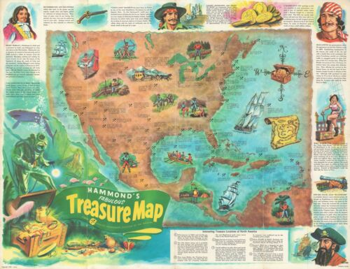 1959 Mazoujian Pictorial Treasure Map of North and Central America