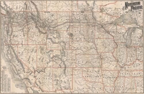 1891 Rand McNally Railroad Map of the Western United States
