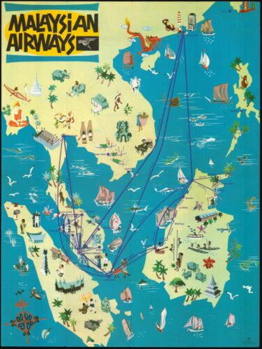 1964 Malaysian Airways Pictorial Map of Southeast Asia