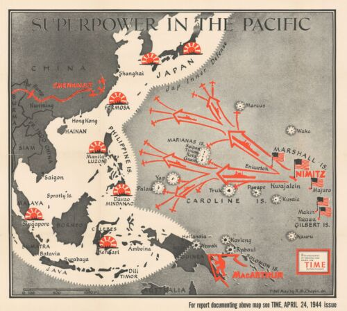 1944 Chapin Map of American Progress in the Pacific War During WWII