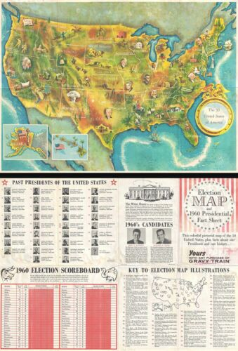 1960 Pictorial Map of the United States / 1960 Presidential Election Fact Sheet