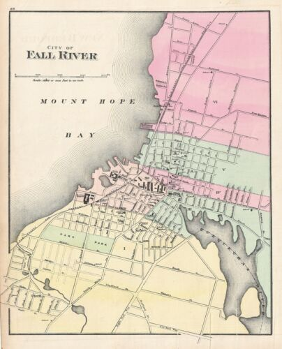 1871 Walling and Gray Map of Fall River, Massachusetts