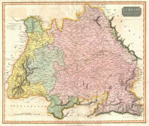1816 Thomson Map of Germany south of the Mayne River