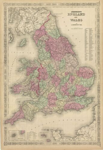1868 Johnson Map of England and Wales