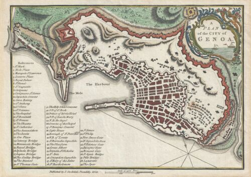 1800 Stockdale Map or Plan of the City of Genoa, Italy