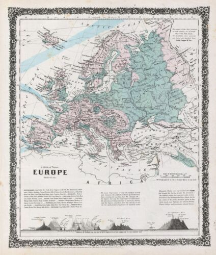 1858 Colton Map of Europe (Physical)