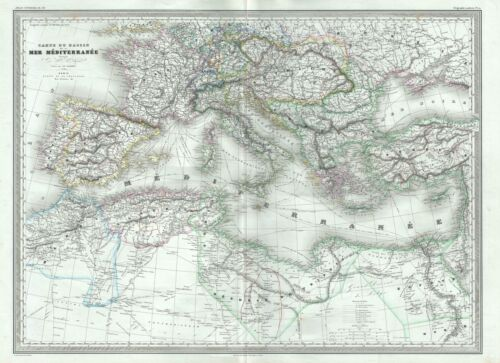 1860 Dufour Map of the Mediterranean Region