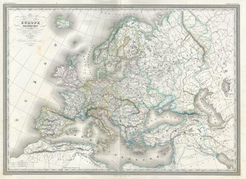 1860 Dufour Map of Europe under Charles V