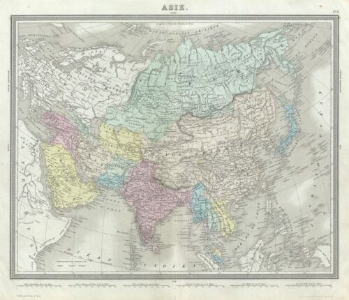 1874 Tardieu Map of Asia