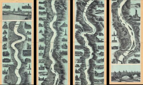 1890 Blumlein Panoramic Map the Rhine River, Germany (Mainz to Cologne)