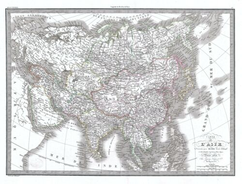 1832 Lapie Map of Asia