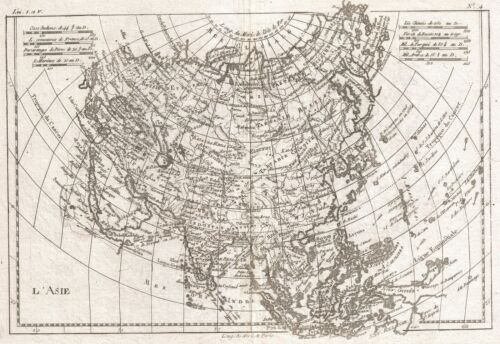 1780 Raynal and Bonne Map of Asia