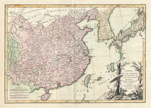 1770 Bonne Map of China, Korea, Japan and Formosa
