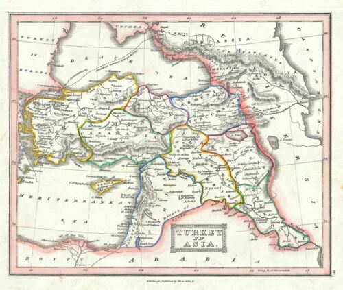 1845 Ewing Map of Turkey in Asia