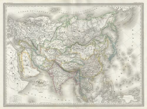 1860 Dufour Map of Asia