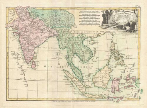 1778 Bonne Map of India, Southeast Asia and The East Indies (Thailand, Borneo)