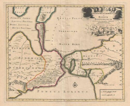 1705 Sanson / Mortier Map of the Kerch Strait with Crimea and Russia