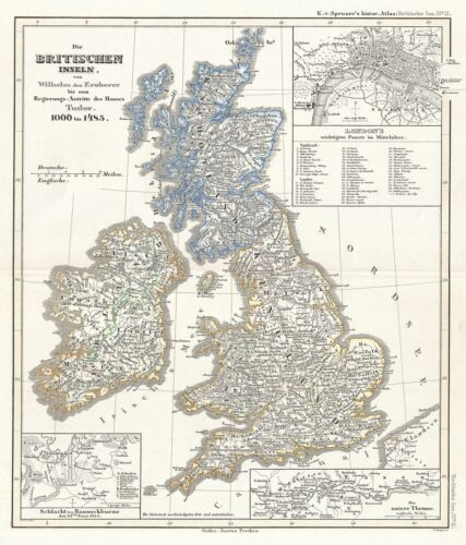 1854 Spruner Map of the British Isles 1066 to 1485