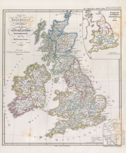 1854 Spruner Map of the British Isles with ecclesiastical divisions