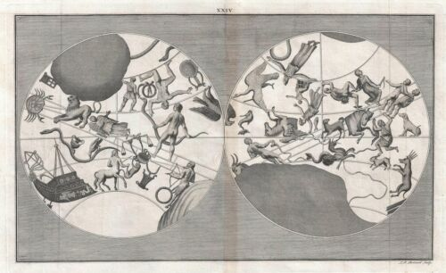1747 Boitard Celestial Map of the Constellation of the Zodiac