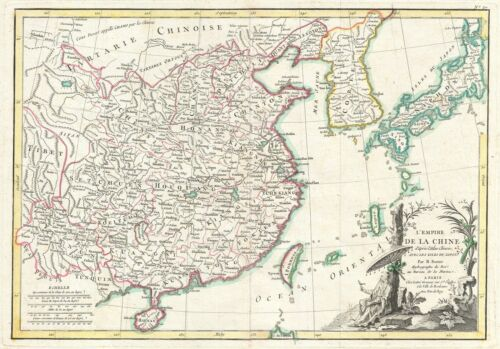 1783 Janvier Map of China, Korea, and Japan