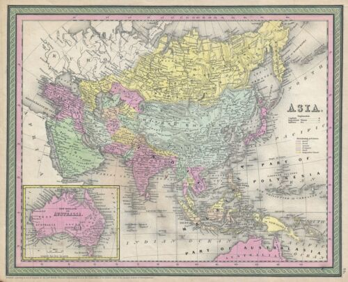 1853 Mitchell Map of Asia