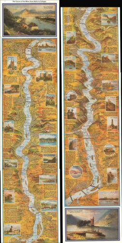 1960 Hoursch and Bechstedt Panorama Map of the Course of the Rhine River