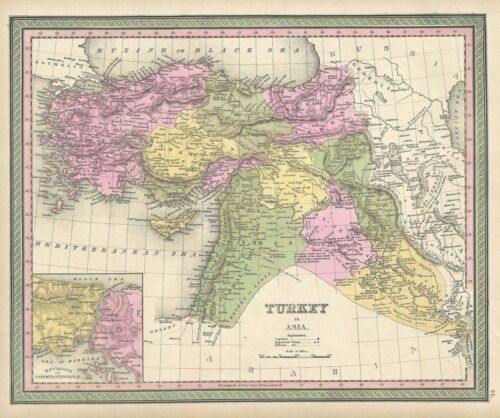 1849 Mitchell Map of Turkey in Asia ( Palestine, Syria, Iraq, Turkey )