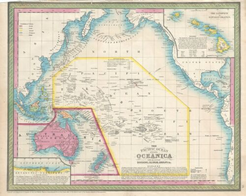 1854 Mitchell Map of the Pacific Ocean and Australia