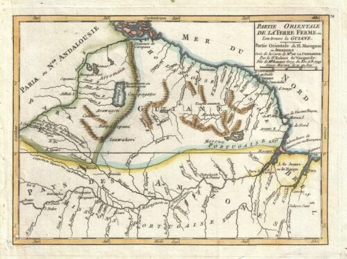1749 Vaugondy Map of Guyana, Suriname, French Guiana, and Brazil
