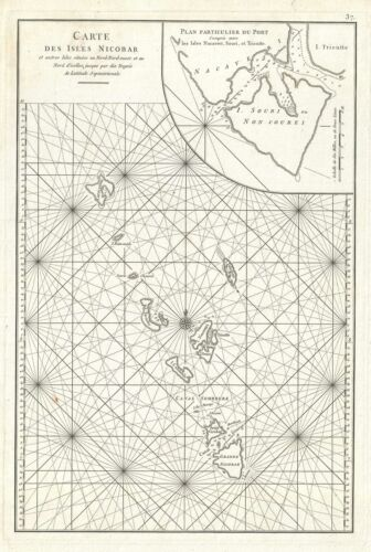 1775 Mannevillette Nautical Chart or Map of the Nicobar Islands, India