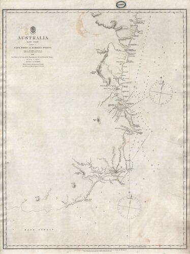 1865 Stokes Admiralty Map of Eastern Australia: Cape Howe to Barriga Point