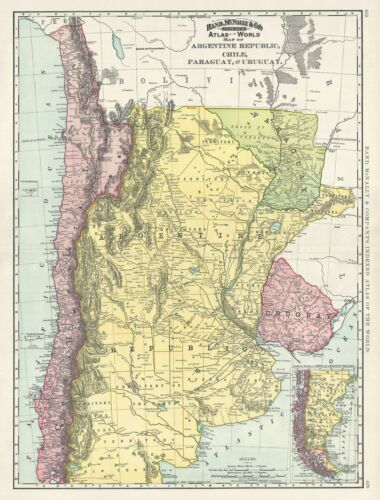 1892 Rand McNally Map of Argentina, Chile, Paraguay and Uruguay