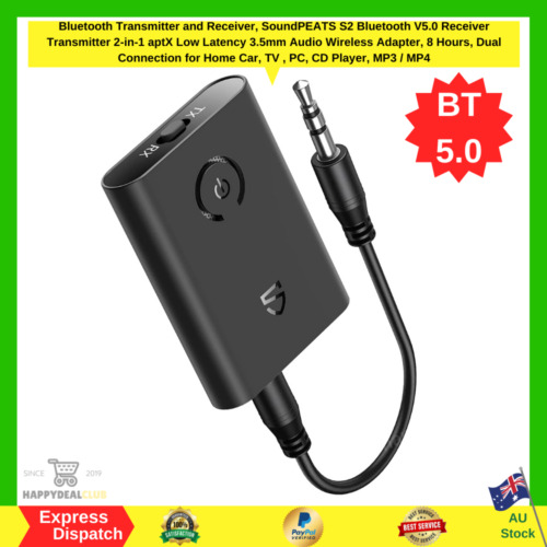 TaoTronics Bluetooth 5.0 Transmitter/Receiver 2-in-1 Wireless 3.5mm Adapter NEW