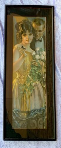 """1920's Art Deco Framed Print """"Beauty Gained is Love Retained"""""""
