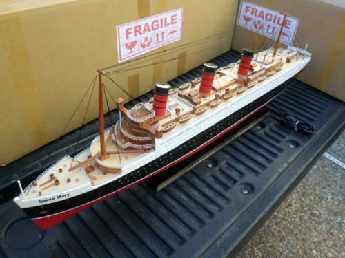 """Queen Mary high quality wooden model ship w/LED light 40"""" minor assembly require"""