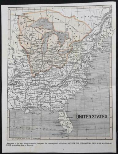 1842 United States Map Society for Colonizing the Irish Catholic Poor Canada