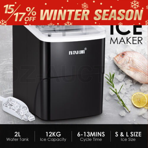 MAXKON 12KG Ice Maker Machine Commercial Ice Cube Tray Maker Bar Countertop BK
