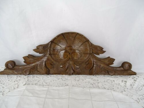 """15""""  French Antique Wood Oak Pediment Hand Carved - Shell - For Clock"""