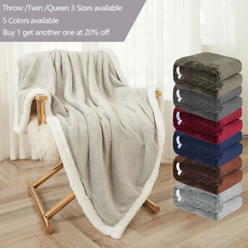 Sherpa Flannel Fleece Blanket Soft Plush Warm Thickened Bed Sofa Twin Queen <br/> *Dual Layer *Thick and Durable *Feels Very Warm & Comfy