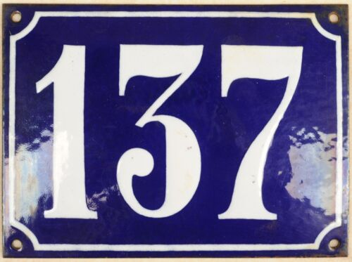 Large old French house number 137 door gate plate plaque enamel steel metal sign