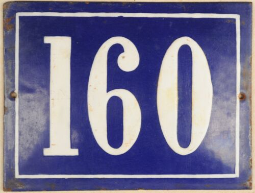 Large old French house number 160 door gate plate plaque enamel steel metal sign
