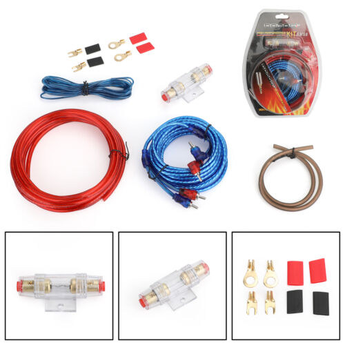 1500W 10 GAUGE Cable Car Amplifier Kit Amp Audio RCA Sub FUSE Wiring Wire A5