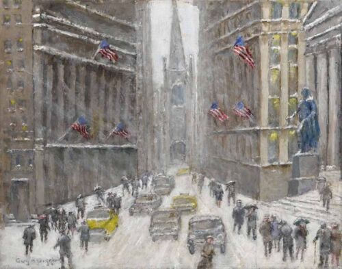 Guy Wiggins Rough Weather On Wall Street Canvas Print 16 x 20    #3325