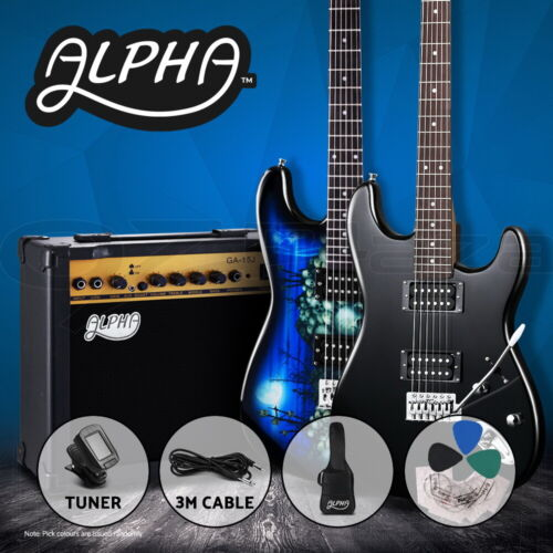 Alpha Electric Guitar Music String Instrument Rock Amplifier Tuner Carry Bag Set