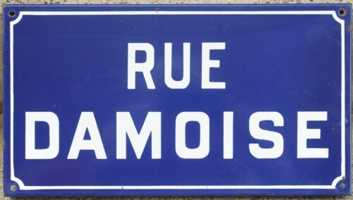 Old French enamel street sign plaque road name plate rue Damoise Etampes 1970s