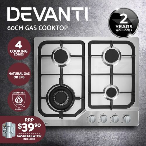 Devanti Gas Cooktop 60cm 4 Burner Glass Cook Top Cooker Stove Hob NG LPG Black <br/> ✔8.1kW Total Power ✔Use with NG/LPG ✔2-Yr Warranty