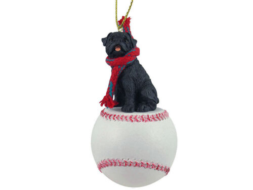 Pug Dog Black Base Ball Baseball Sports Figurine Ornament
