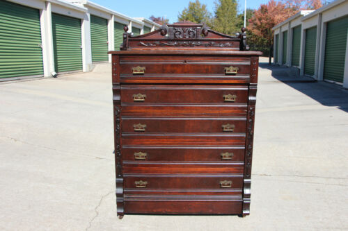 Walnut Victorian Orig Finish Tall Lockside Chest w Flower Carved Gallery & Sides